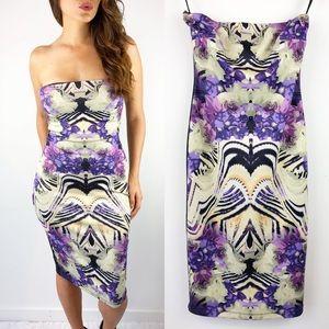 Bebe Lavender Flower Strapless Dress